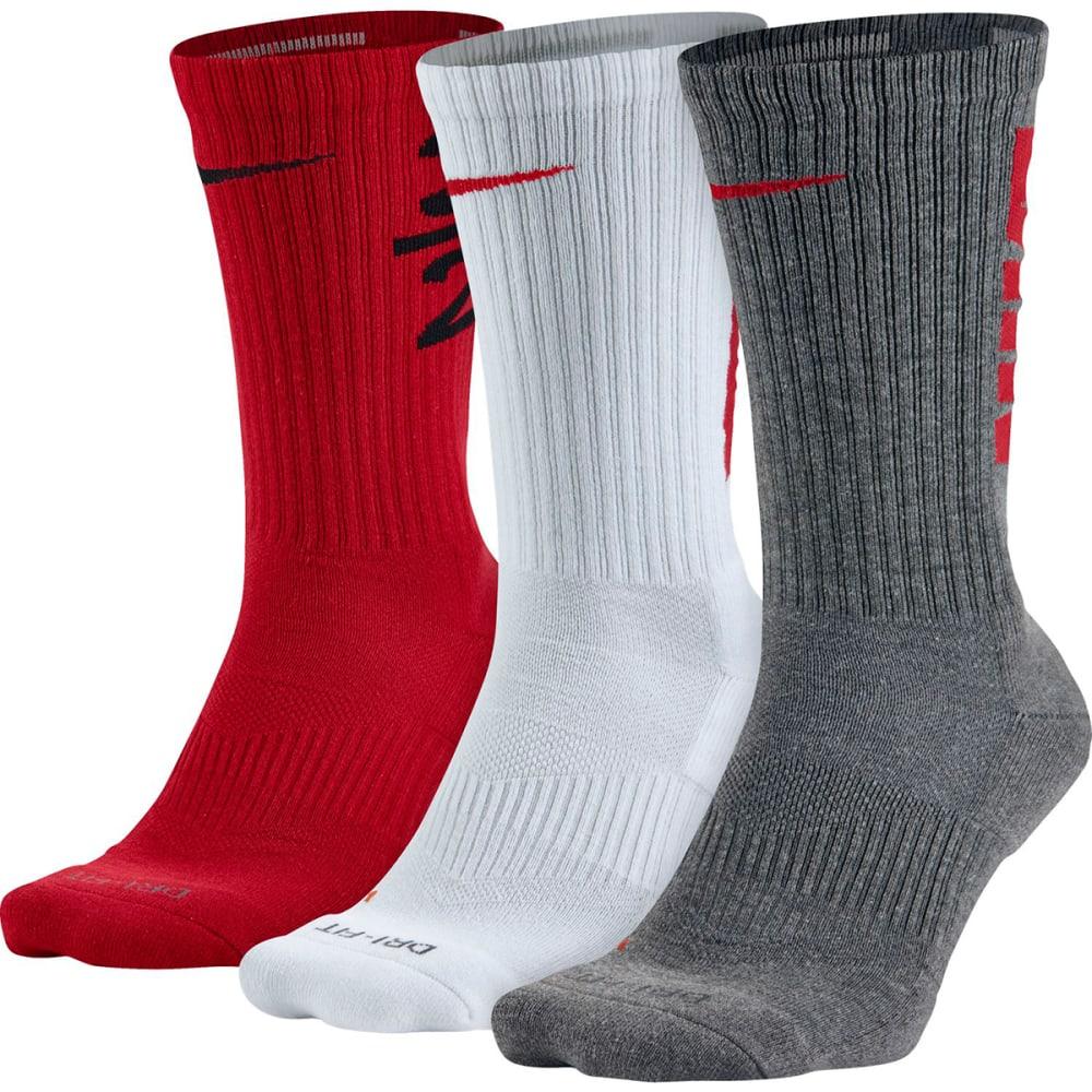 NIKE Men's Dry-Fit Fly V4 Crew Socks, 3-Pack - BLK/RD/WH SX5128-961