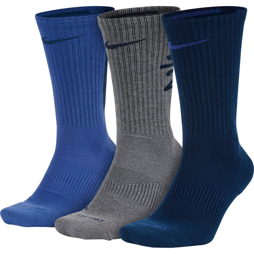 NIKE Men's Dry-Fit Fly V4 Crew Socks, 3-Pack - 945-ROYAL/BLK/GRY
