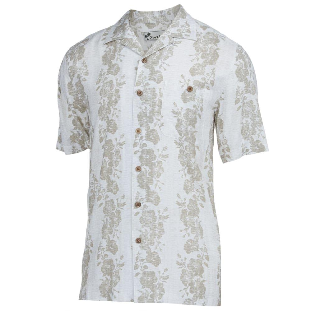OLIVER & BURKE Men's Vertical Hibiscus Shirt - EGRET