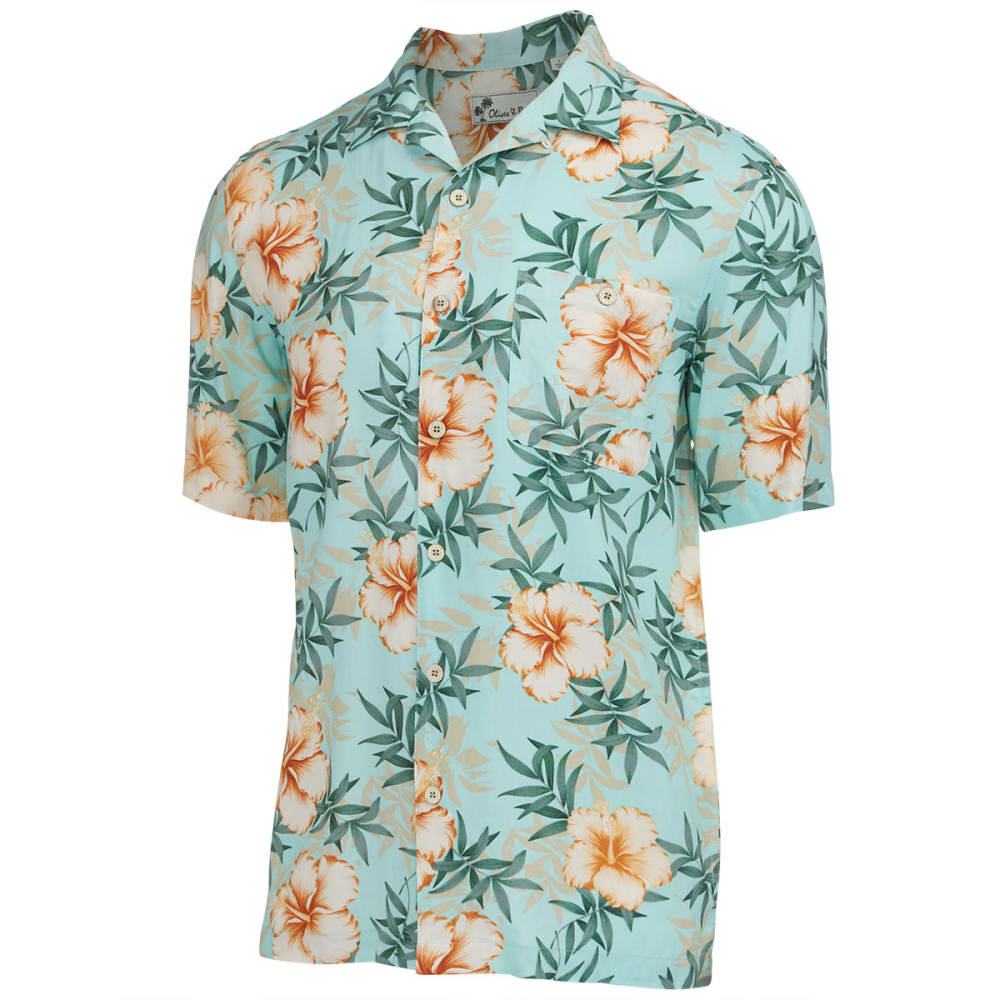 OLIVER & BURKE Men's Fiji Floral Short-Sleeve Woven Shirt - MINT