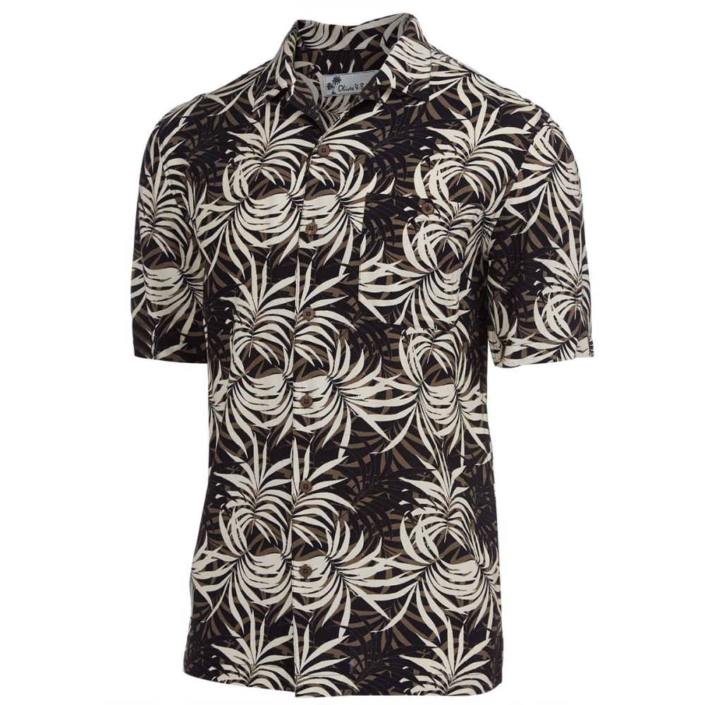 OLIVER & BURKE Men's Island Breeze Tropical Short-Sleeve Woven Shirt - BLACK
