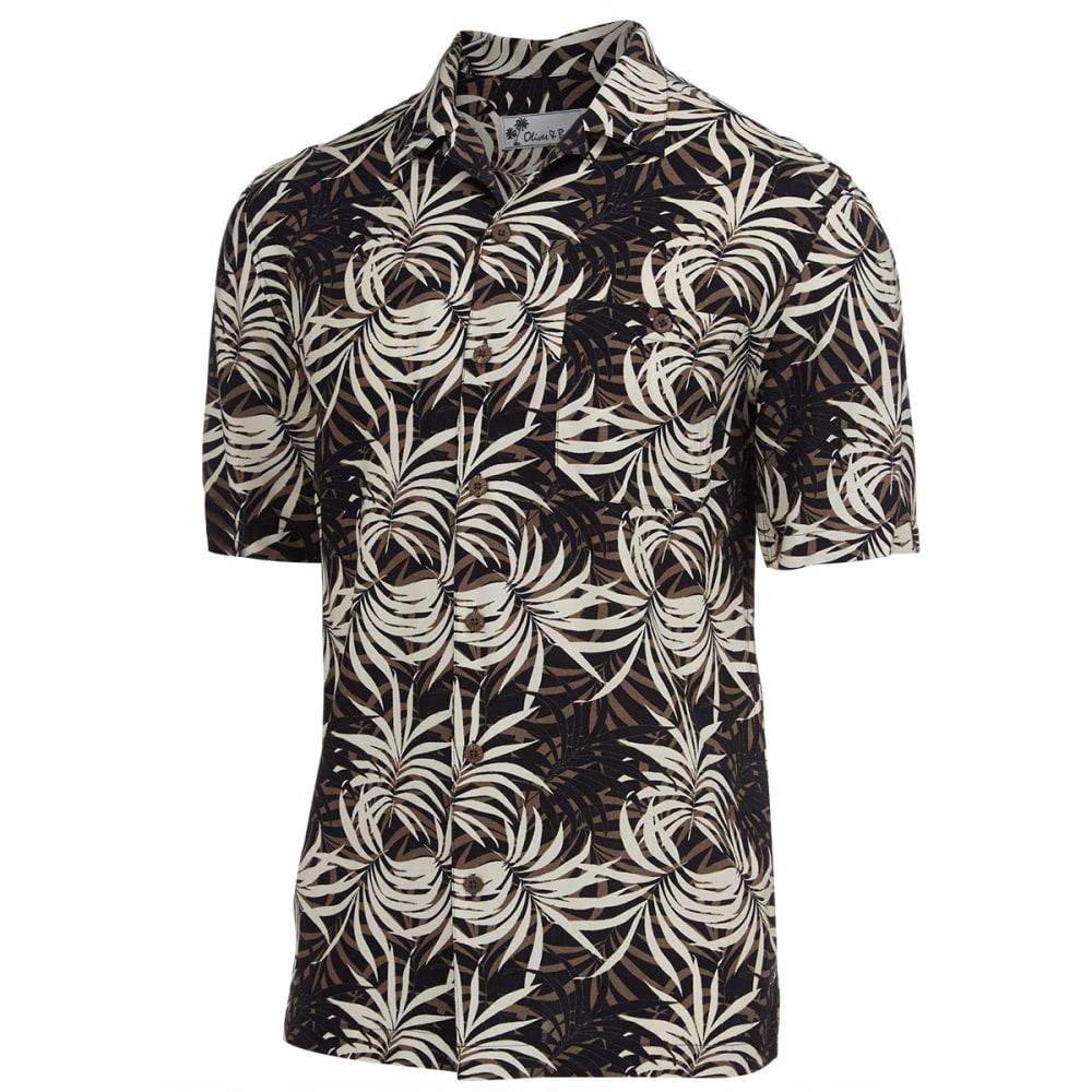 OLIVER & BURKE Men's Island Breeze Tropical Short-Sleeve Woven Shirt - BLACK