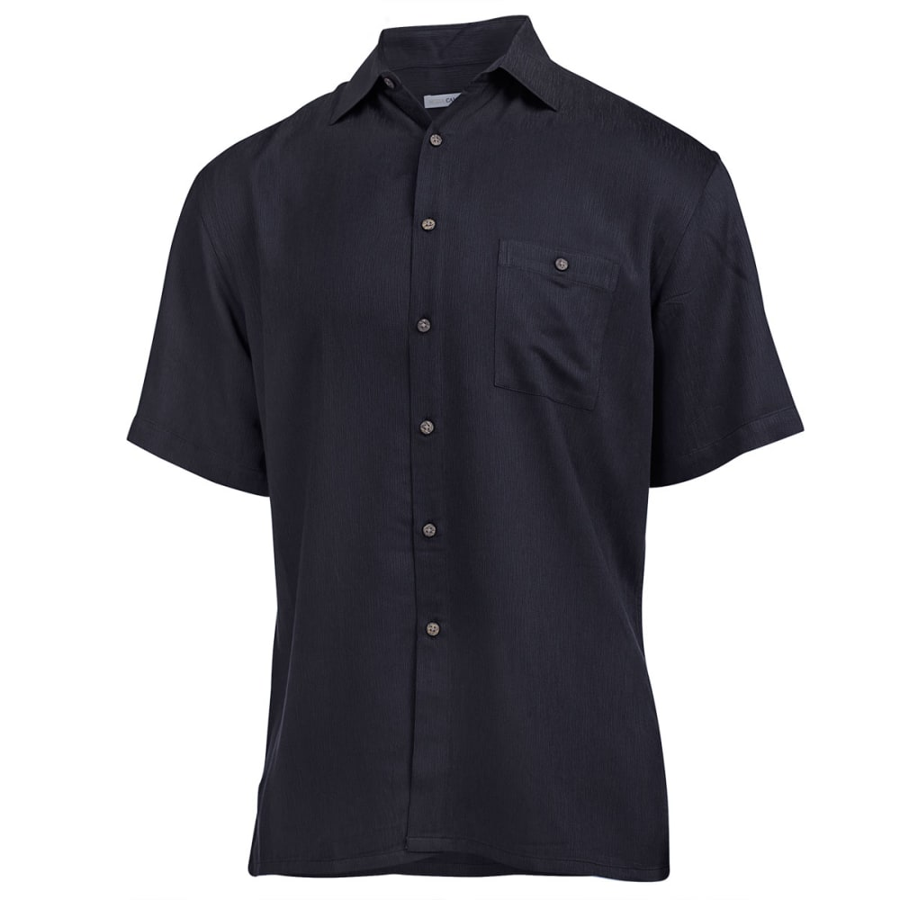 CAMPIA Men's Solid Woven Button Down Shirt - BLACK