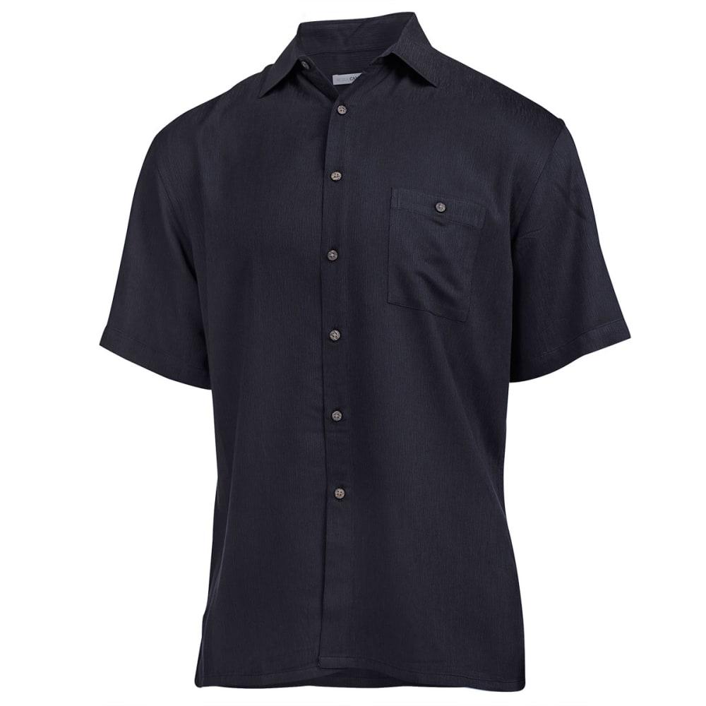 CAMPIA Men's Solid Woven Button Down Shirt - BLACK