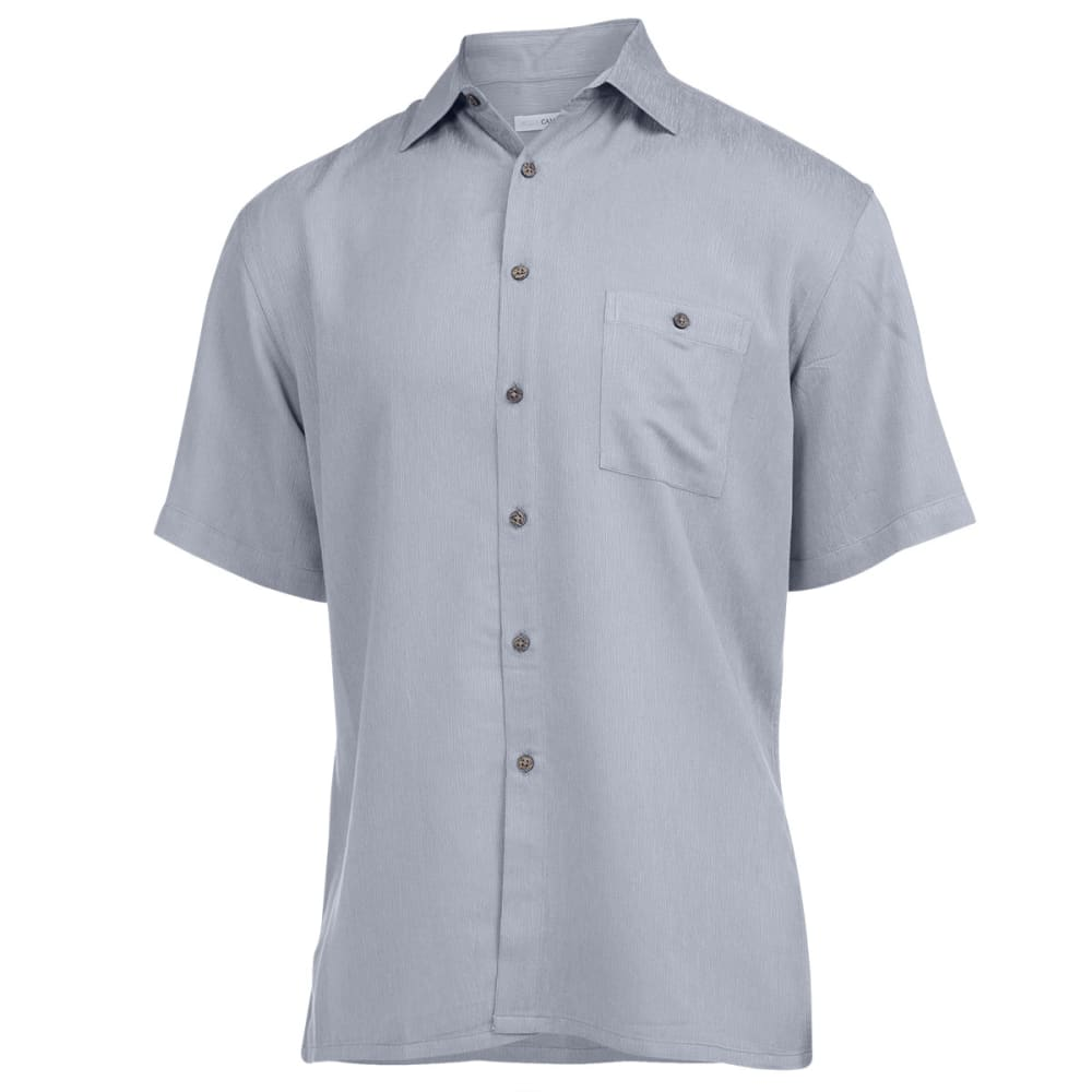CAMPIA Men's Solid Woven Button Down Shirt - GREY