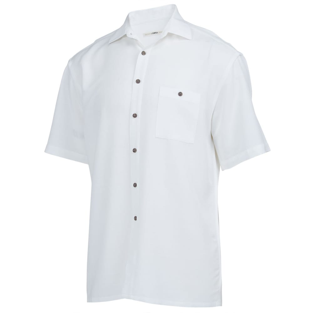 Campia Men's Solid Slub Woven Shirt - White, M