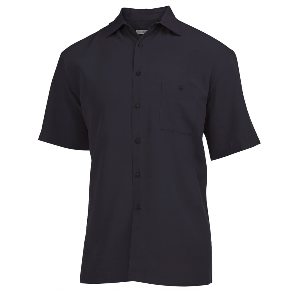 CAMPIA Men's Solid Slub Woven Shirt - BLACK