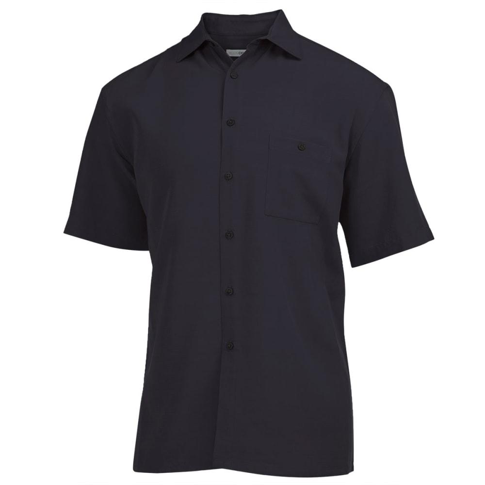 CAMPIA Men's Solid Slub Woven Shirt - BLACK