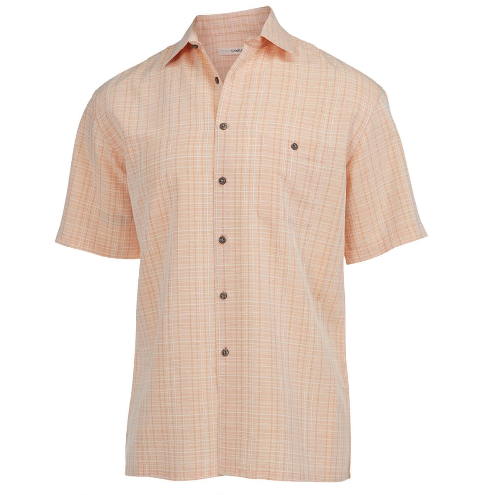 CAMPIA MODA Men's Textured Plaid Shirt - BITTER ORANGE
