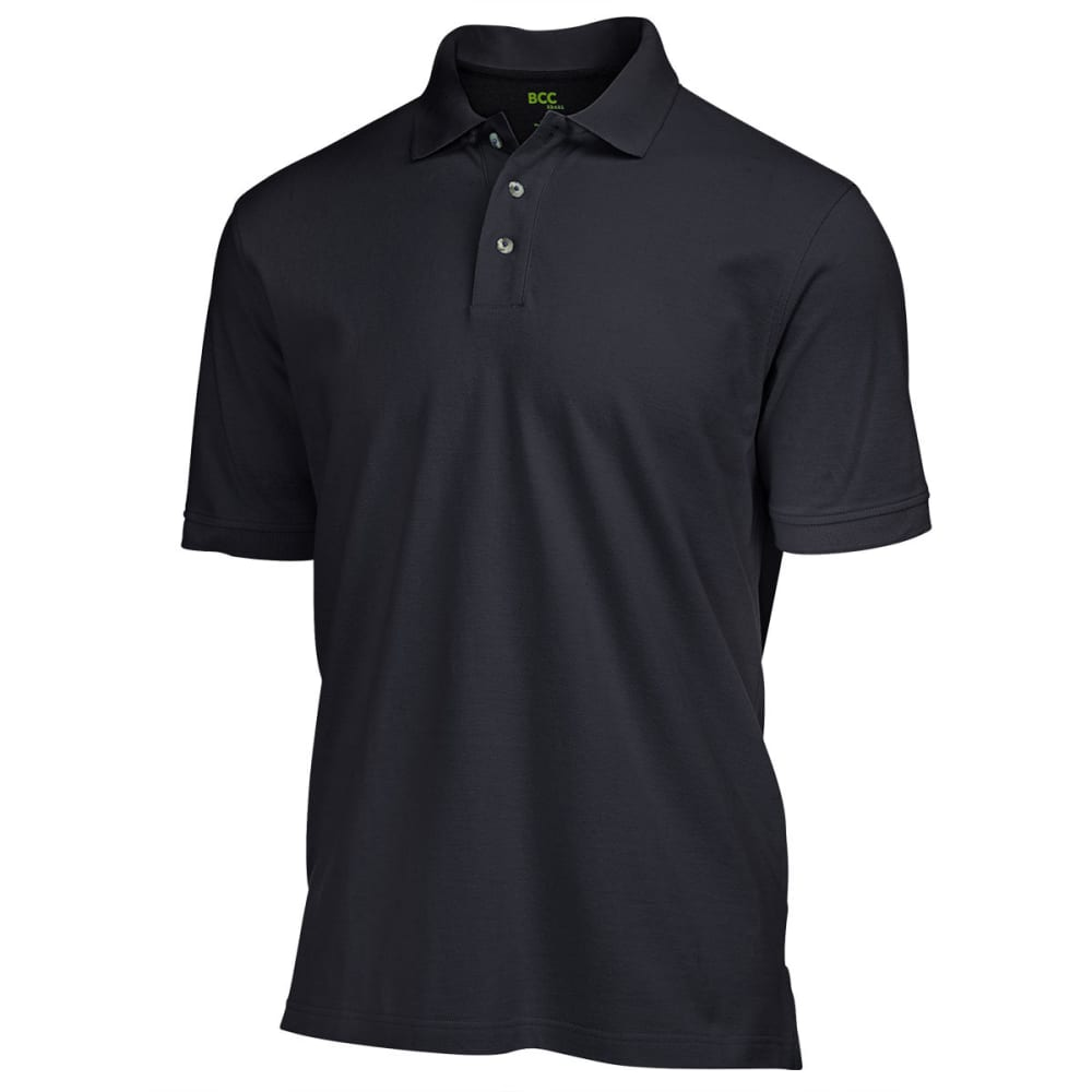 BCC Men's Solid Pique Polo - BLACK