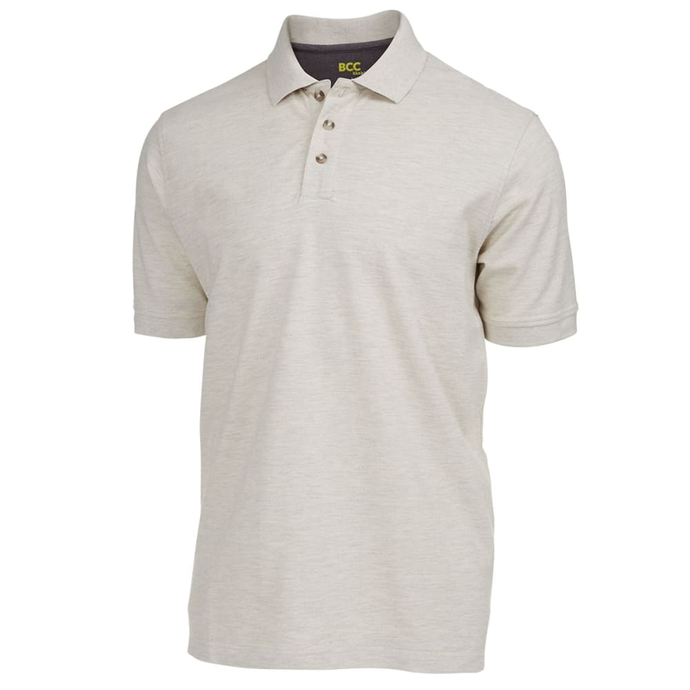 BCC Men's Solid Pique Polo - OATMEAL
