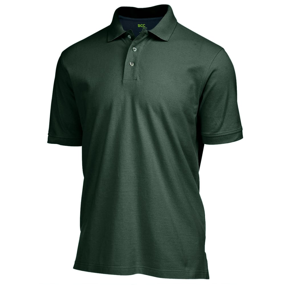 BCC Men's Solid Pique Polo - GREEN HTR