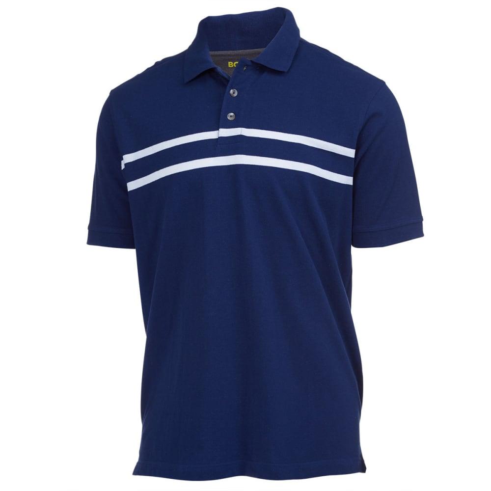 BCC KHAKI Men's Chest Stripe Pique Polo - BLUE/WHITE