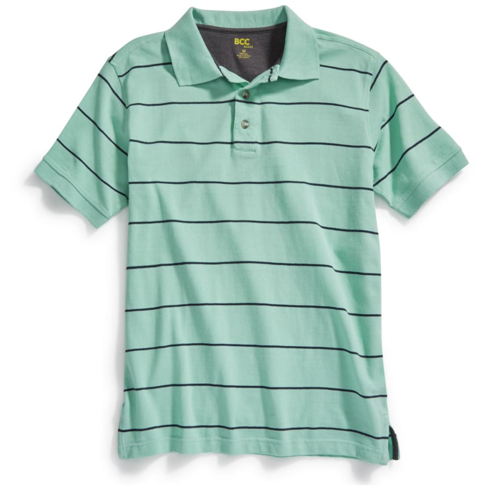BCC KHAKI Men's Thin Stripe Pique Polo - GRN/NVY