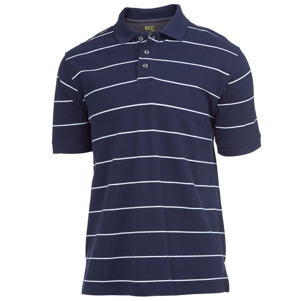BCC KHAKI Men's Thin Stripe Pique Polo - NAVY/WHITE
