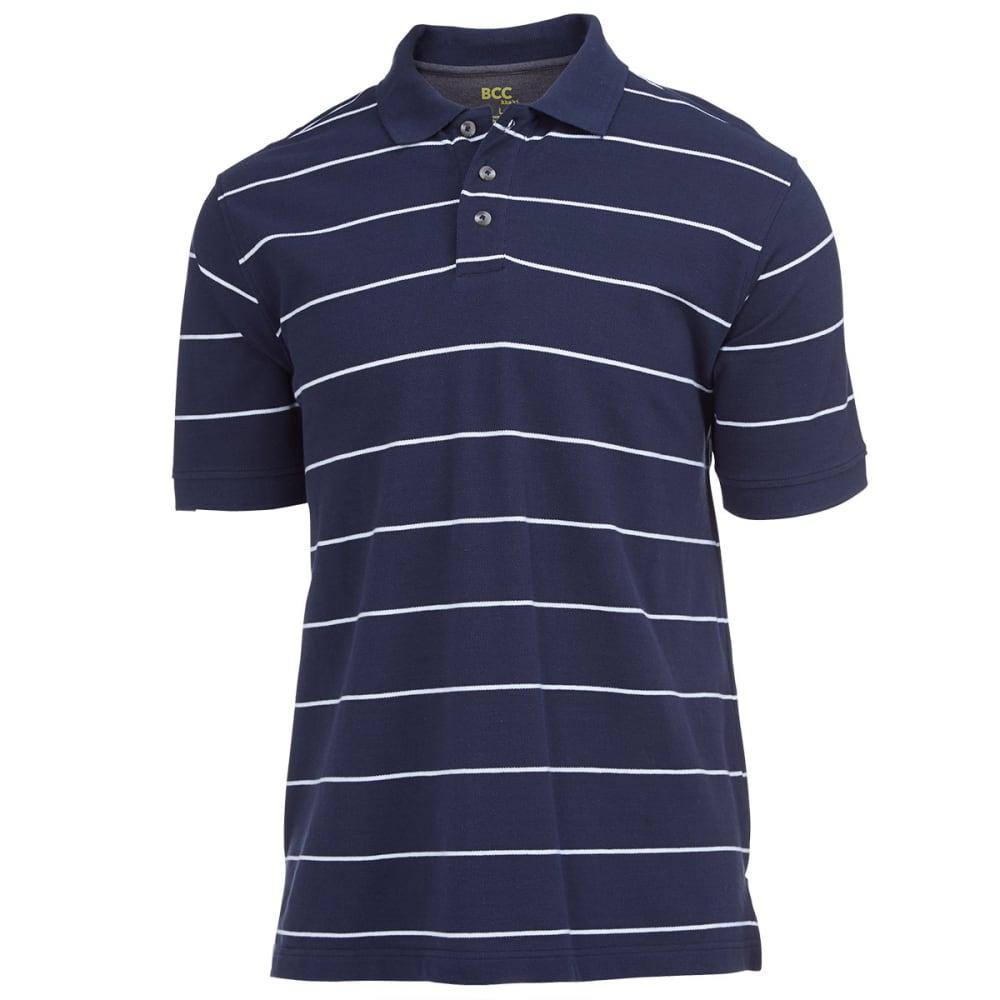 BCC KHAKI Men's Thin Stripe Pique Polo - NAVY/WHITE