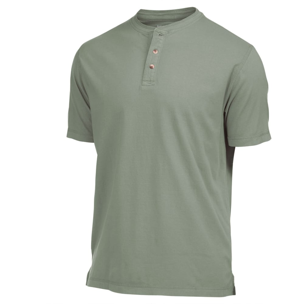 NATURAL BASIX Men's Garment Dyed Henley Shirt - OLIVE
