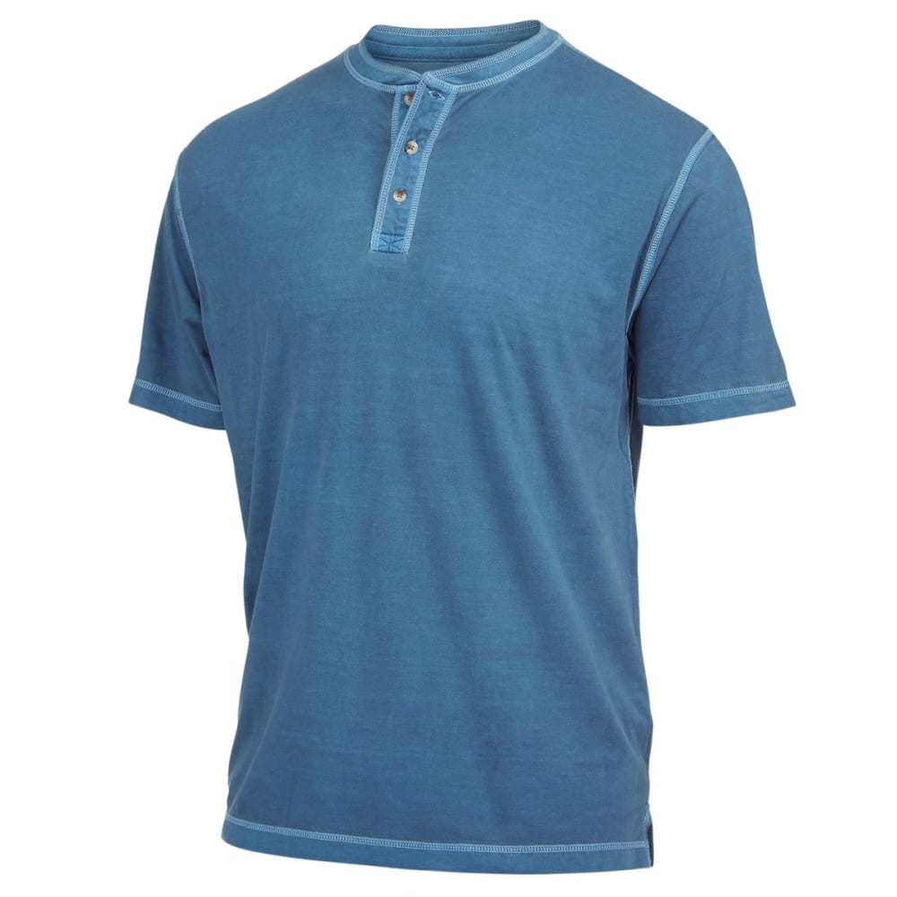 NATURAL BASIX Men's Garment Dyed Henley Shirt - CADET BLUE
