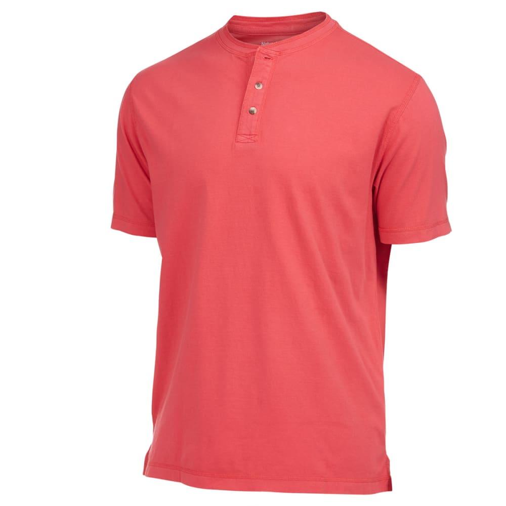 NATURAL BASIX Men's Garment Dyed Henley Shirt - CHILI PEPPER