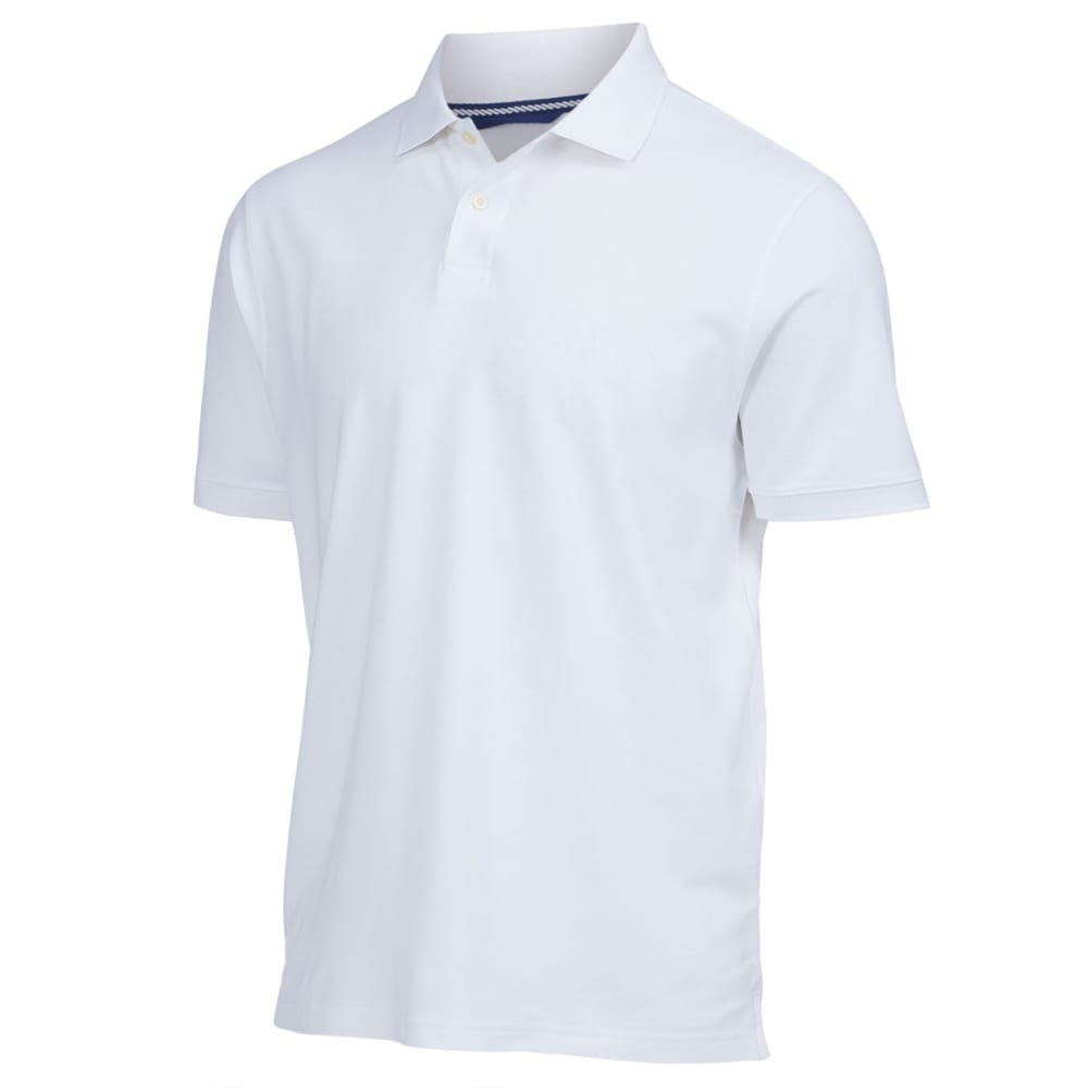 RUGGED TRAILS Men's Easy Care Pique Polo - WHITE