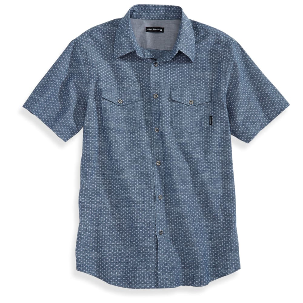 OCEAN CURRENT Guys' Short-Sleeve Shock Chambray Shirt - FADED INDIGO