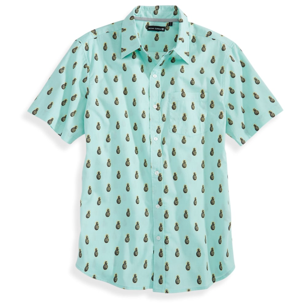 OCEAN CURRENT Guys' Short-Sleeve Pinacolada Woven Shirt - FADED MINT