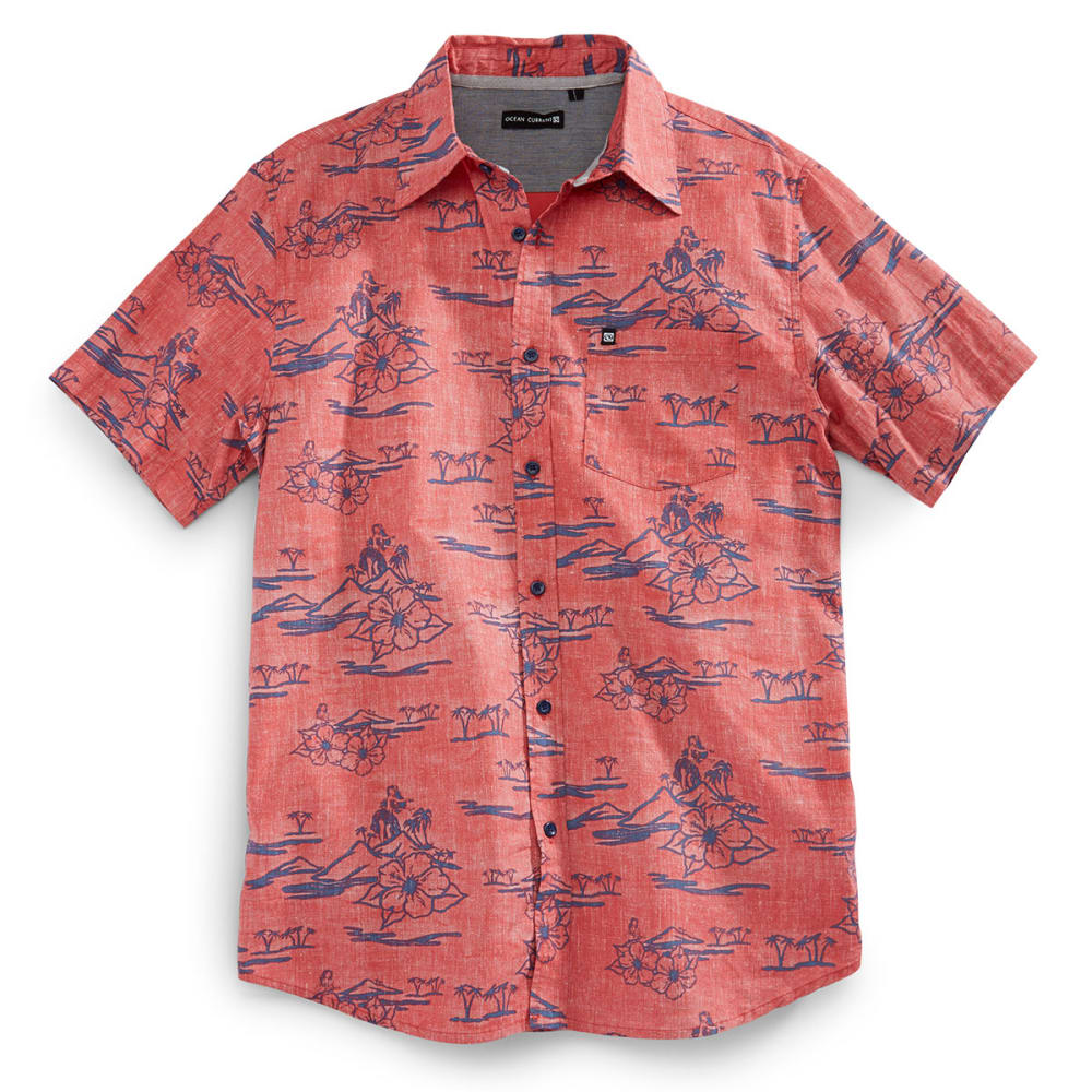 OCEAN CURRENT Guys' Hidden Hula Short-Sleeve Woven Shirt - FADED RED
