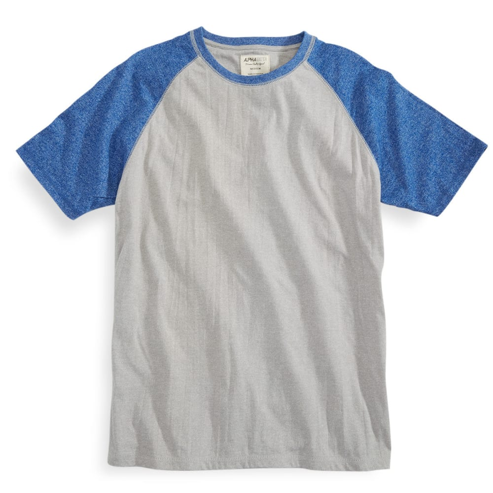 ALPHA BETA Guys' Short-Sleeve Baseball Crew Neck Tee - PALOMA/SKY DIVER