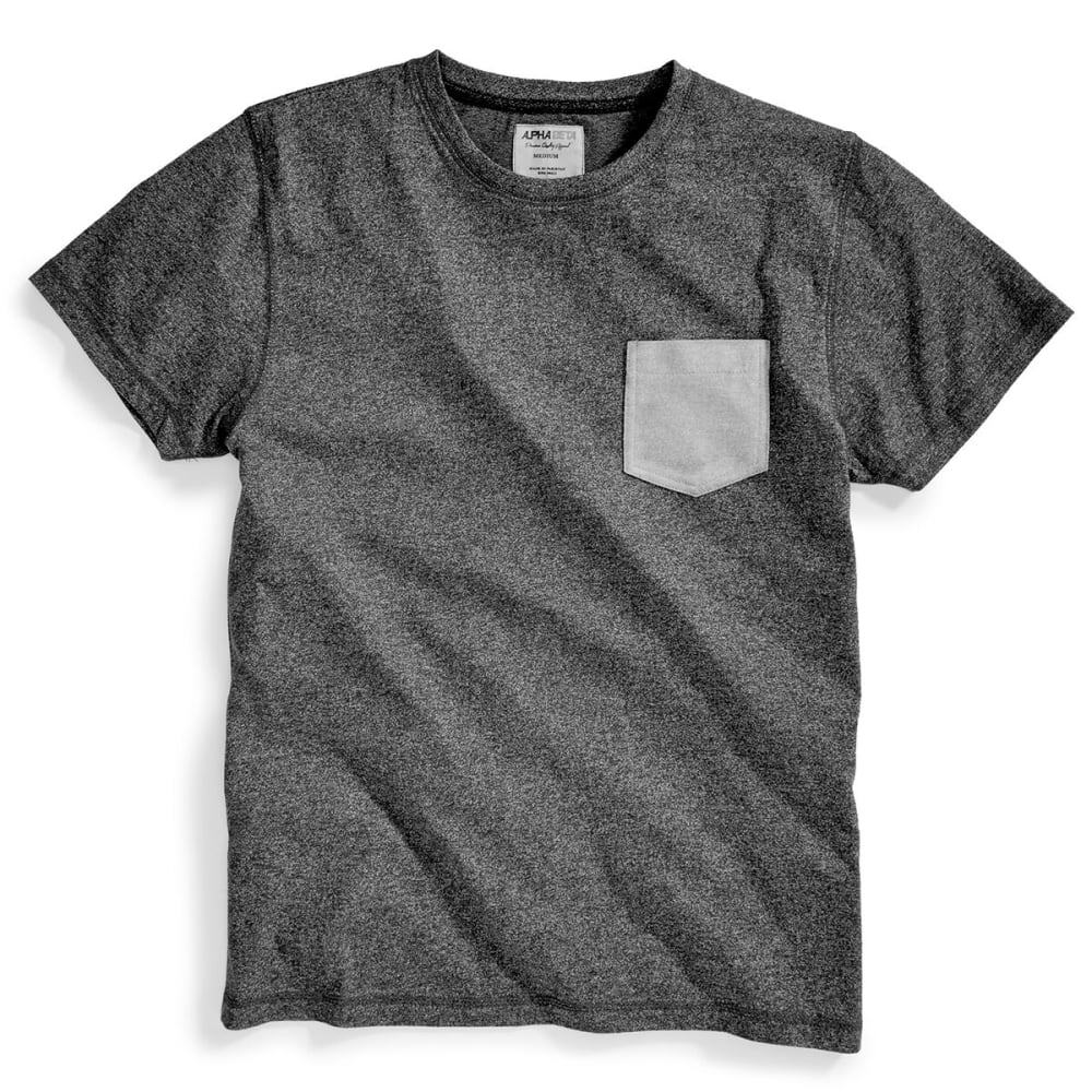 ALPHA BETA Guys' Marled Pocket Crew Short-Sleeve Tee - CHARCOAL/PALOMA