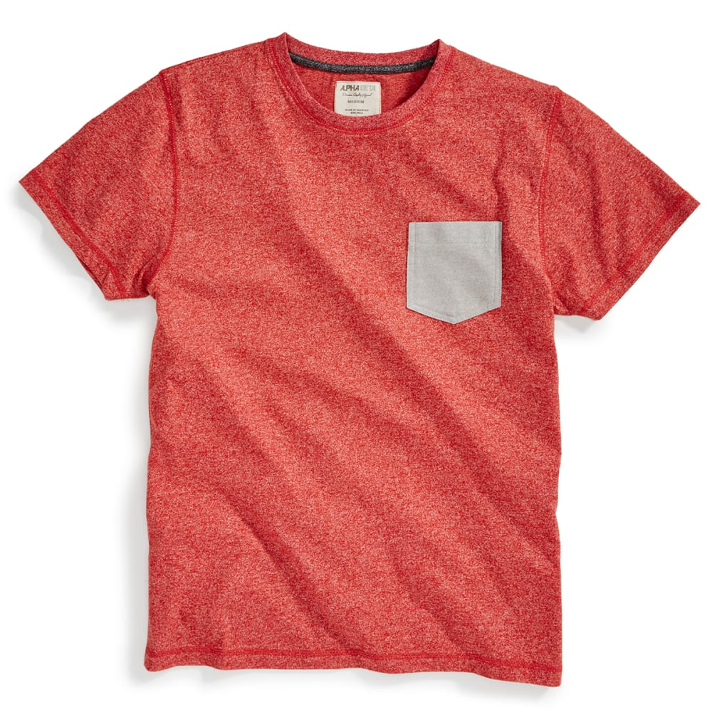 ALPHA BETA Guys' Short-Sleeve Marled Pocket Crew - CINNABAR/PALOMA