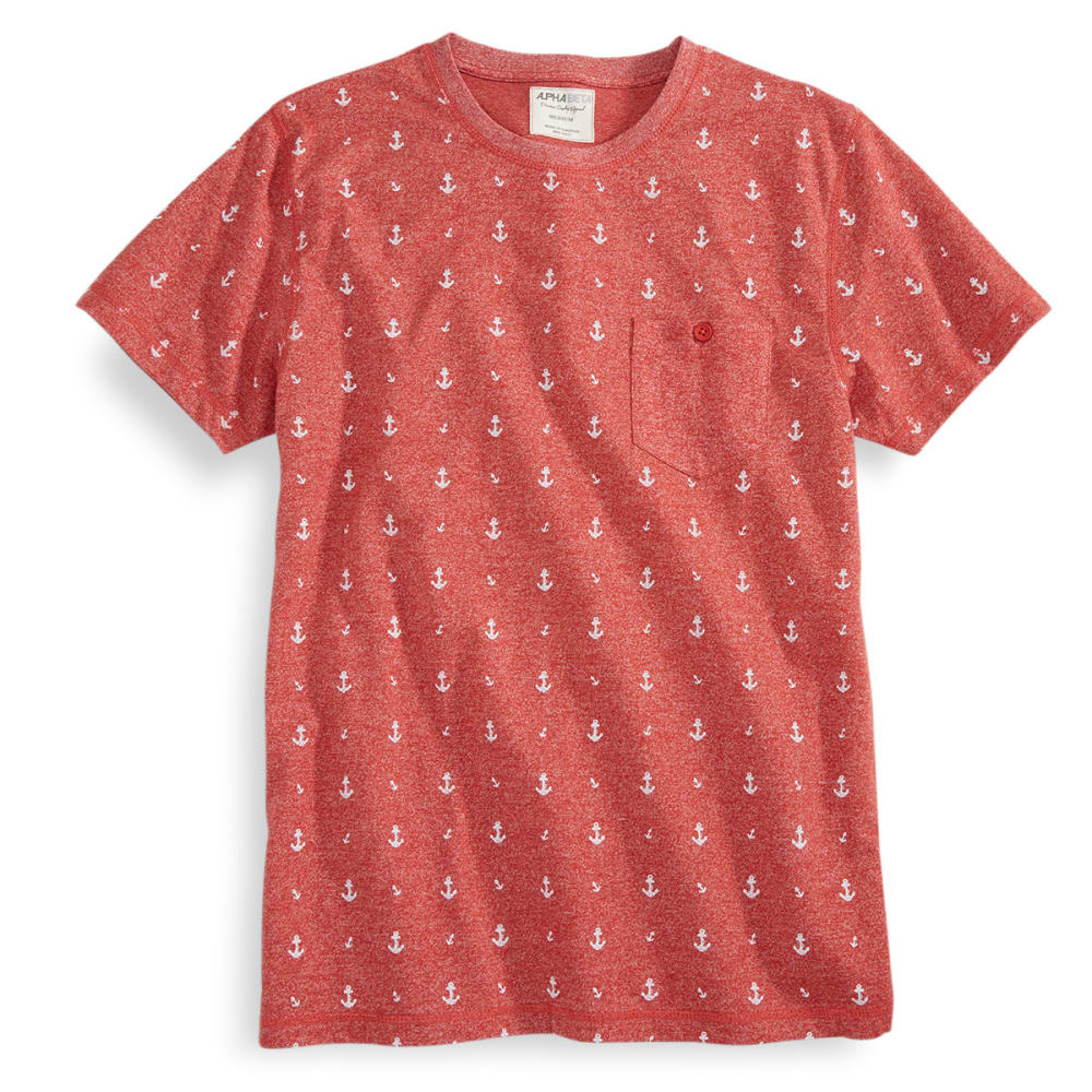 ALPHA BETA Guys' Short-Sleeve Anchor Print Shirt - CINNABAR