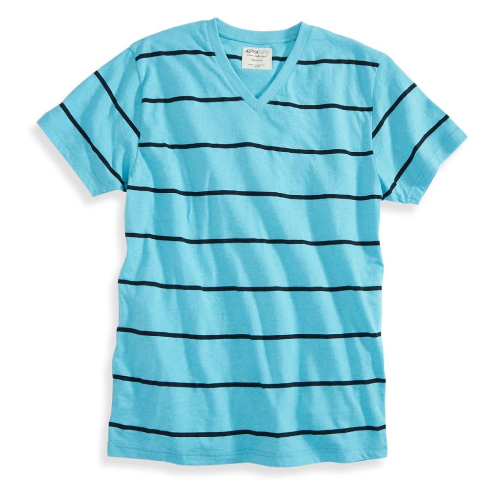 ALPHA BETA Guys' Short-Sleeve Stripe V-Neck Tee - BILLIANTBLUE CURACAO