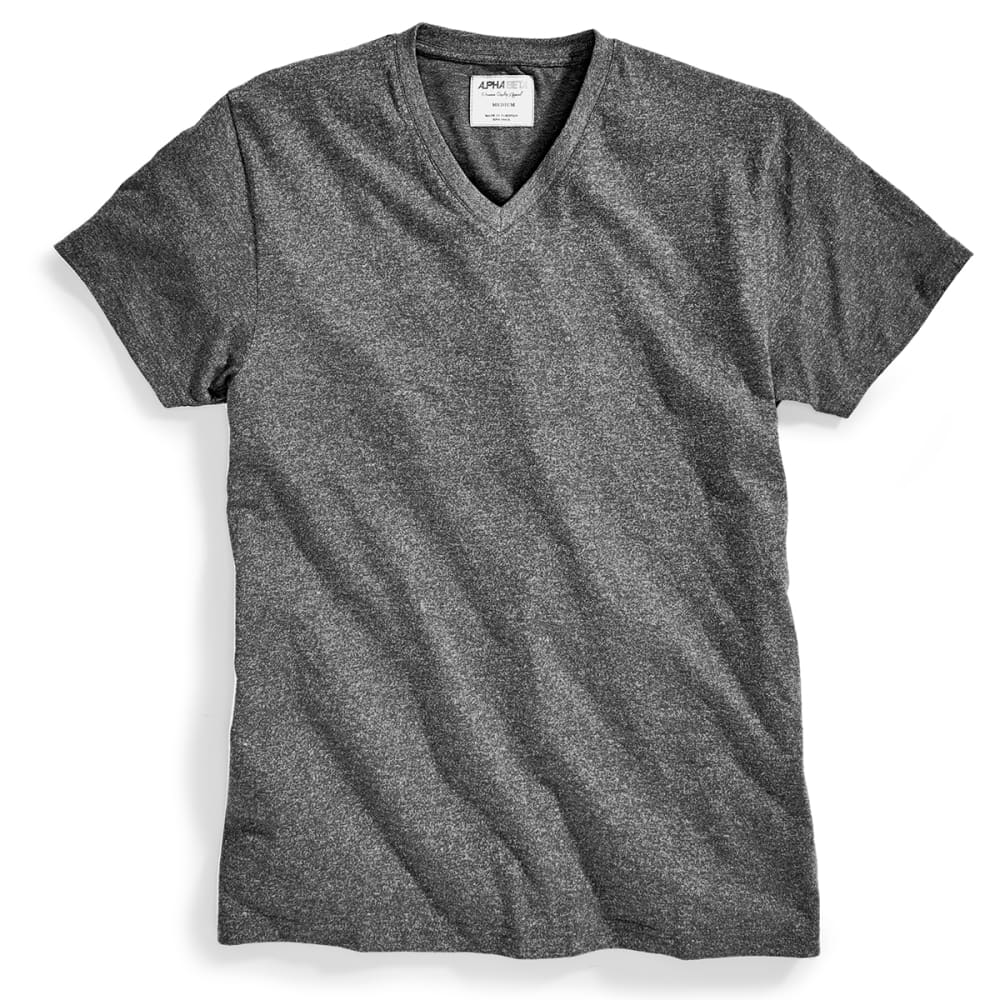 ALPHA BETA Guys' Heather V-Neck Tee - CHARCOAL