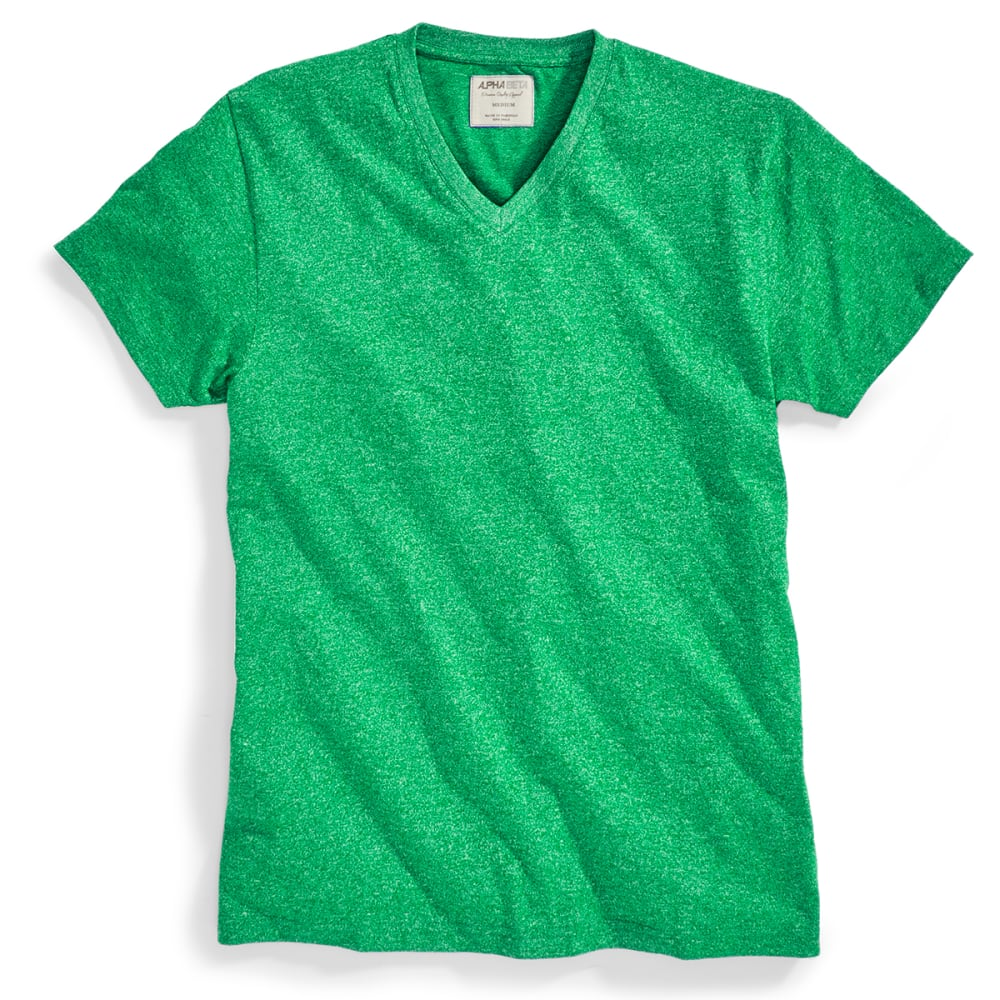ALPHA BETA Guys' Heather V-Neck Tee - JELLYBEAN