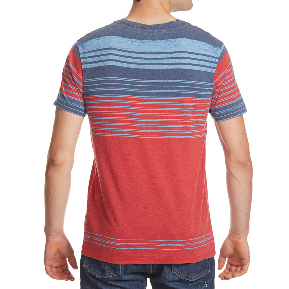 RETROFIT Young Men's Stripe V-Neck Burnout Tee - TRUE RED