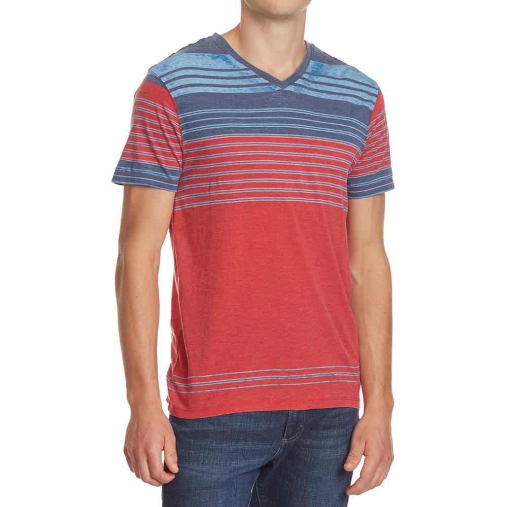 RETROFIT Young Men's Stripe V-Neck Burnout Tee - TRUE RED