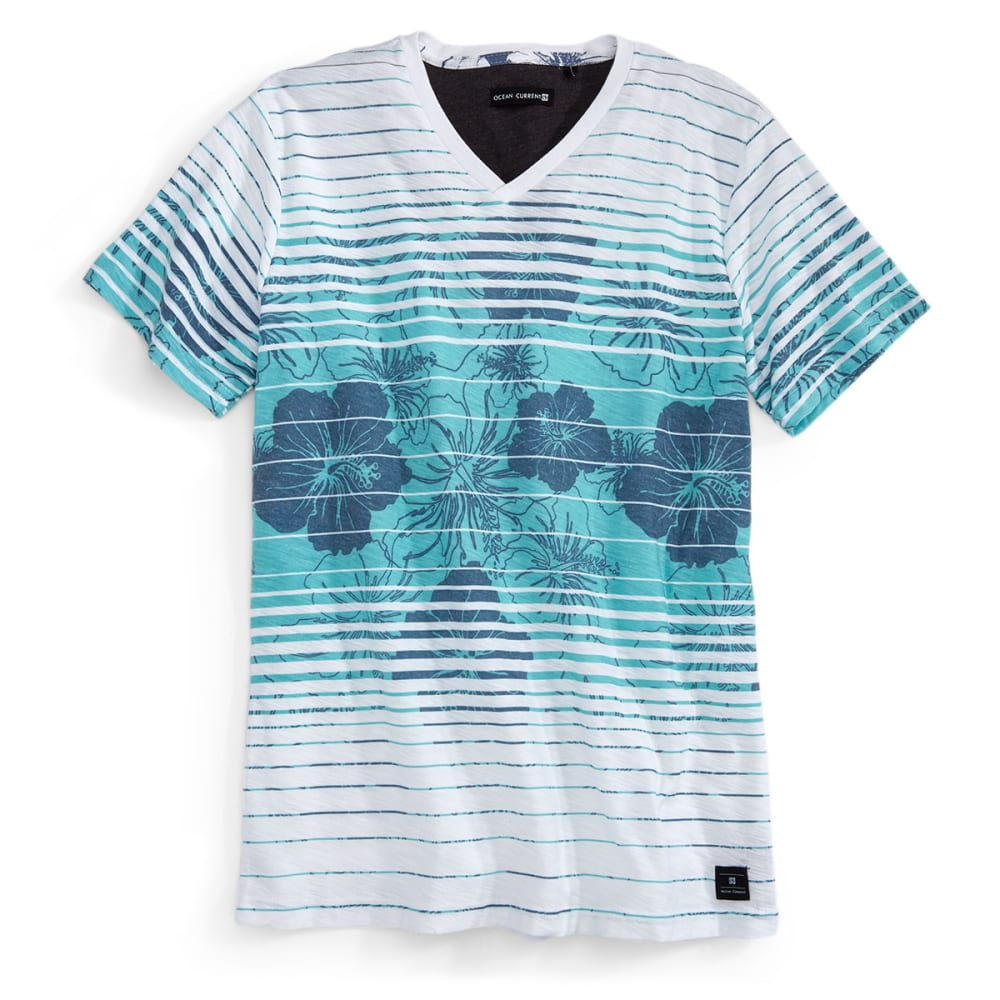 OCEAN CURRENT Guys' Short-Sleeve Buddy Hibiscus Knit Shirt - WHITE/TEAM COLOR