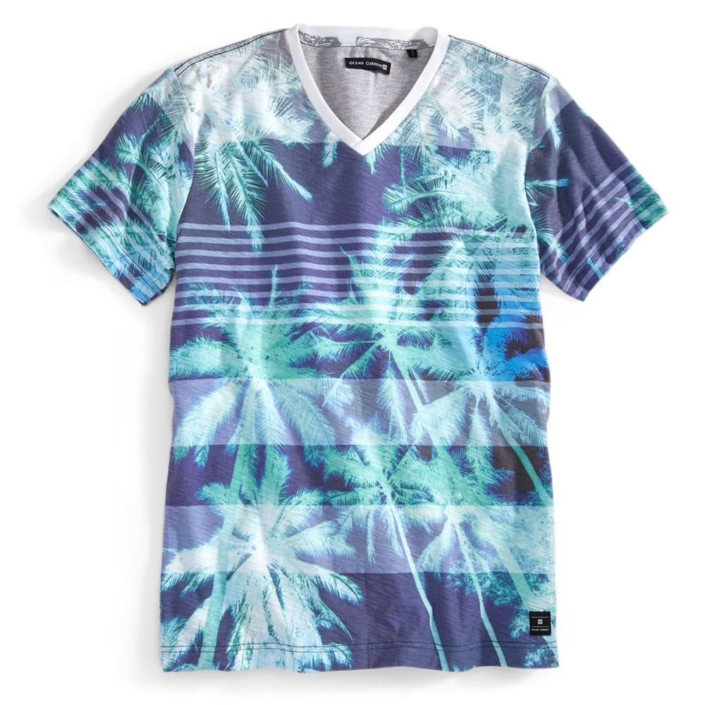 OCEAN CURRENT Guys' Palm Print V-Neck Shirt - INDIGO
