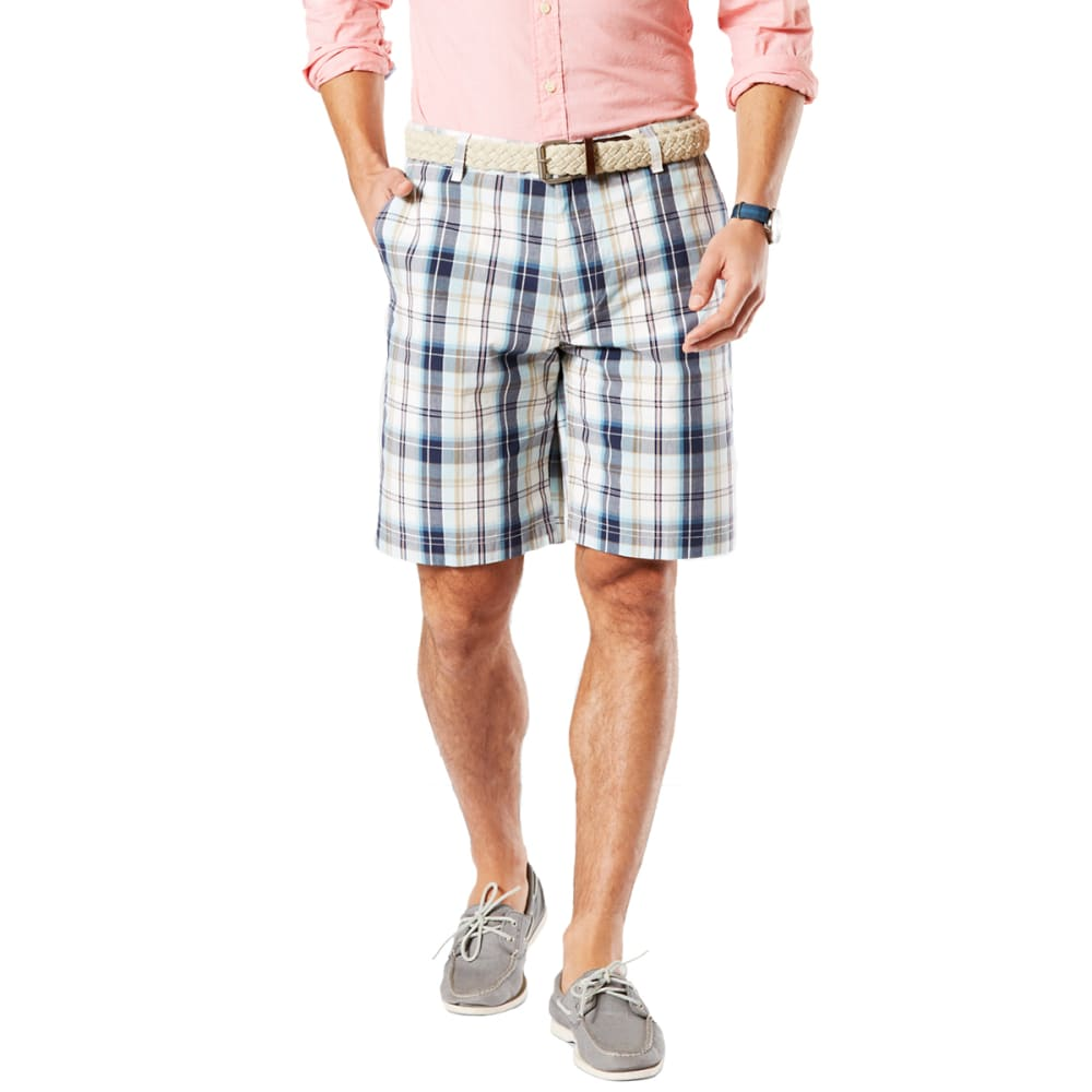 Dockers Men's Cerritos Plaid Perfect Flat-Front Shorts - Blue, 30