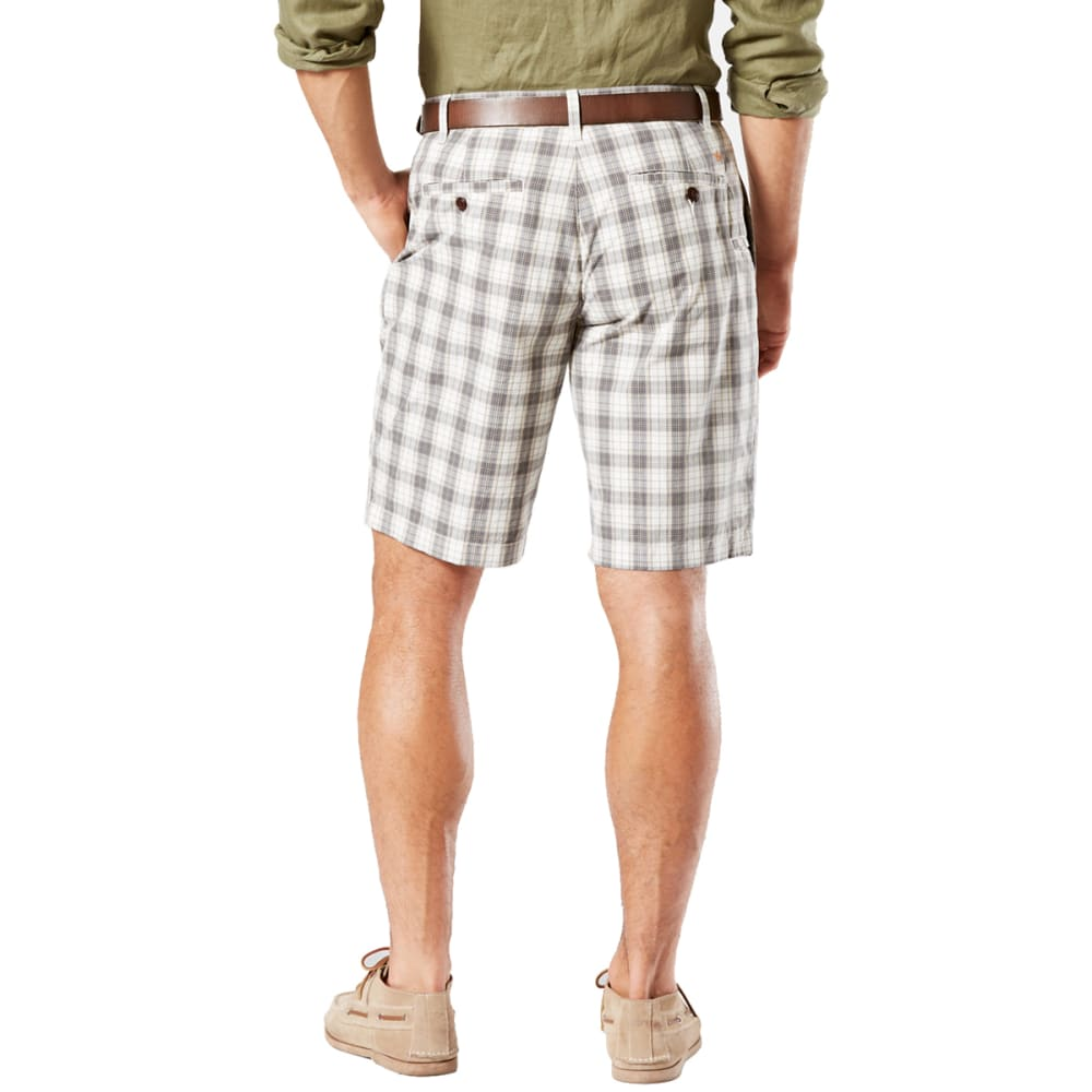 DOCKERS Men's Lancaster Plaid Perfect Flat-Front Shorts - BURMA GREY