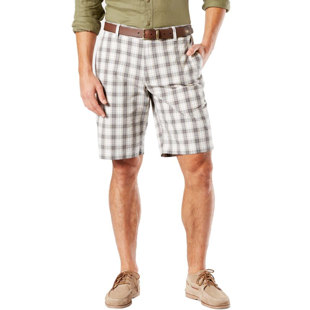 DOCKERS Men's Lancaster Plaid Perfect Flat-Front Shorts - BURMA GREY