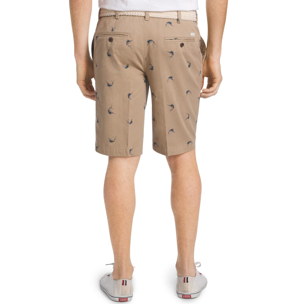 IZOD Men's Swordfish Printed Twill Shorts - 261-CEDARWOOD KHAKI