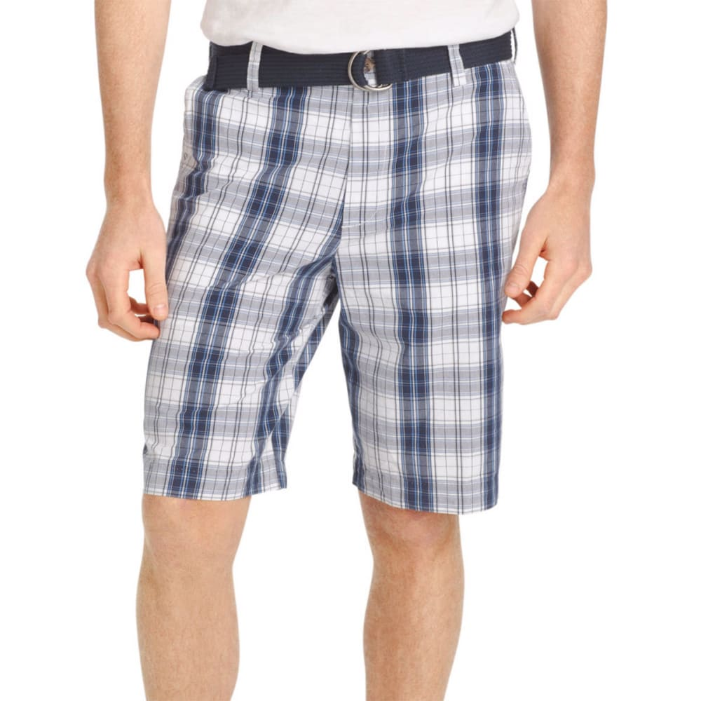 IZOD Men's Flat Front Portsmith Plaid Shorts - 408-MIDNIGHT
