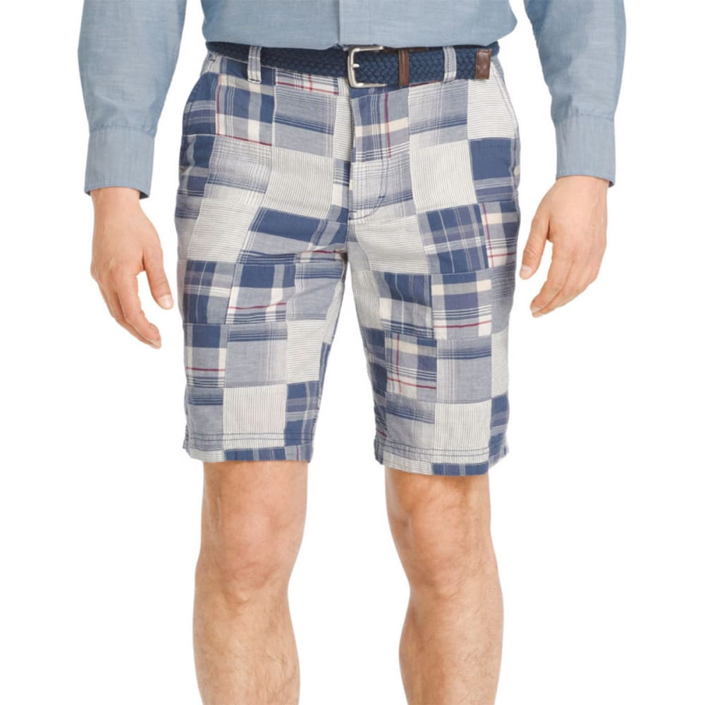 IZOD Men's Flat Front Madras Shorts - 486-DEEP INDIGO