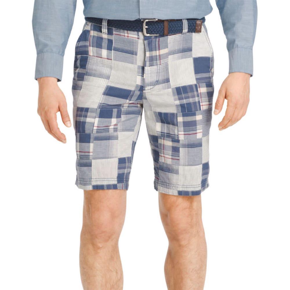 IZOD Men's Flat Front Madras Shorts - 486-DEEP INDIGO