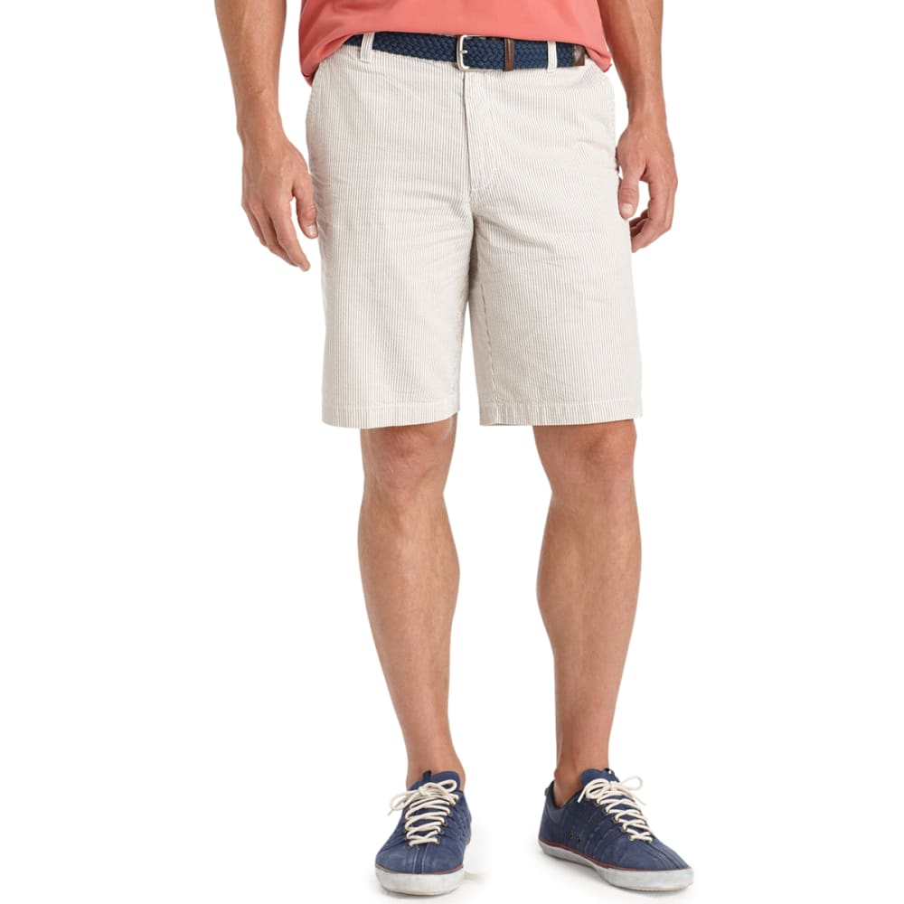 IZOD Men's Seersucker Flat Front Shorts - 261-CEDARWOOD KHAKA