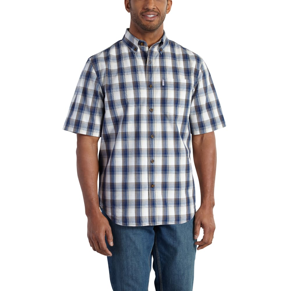 CARHARTT Men's Essential Plaid Button-Down Short-Sleeve Shirt - LT BROWN