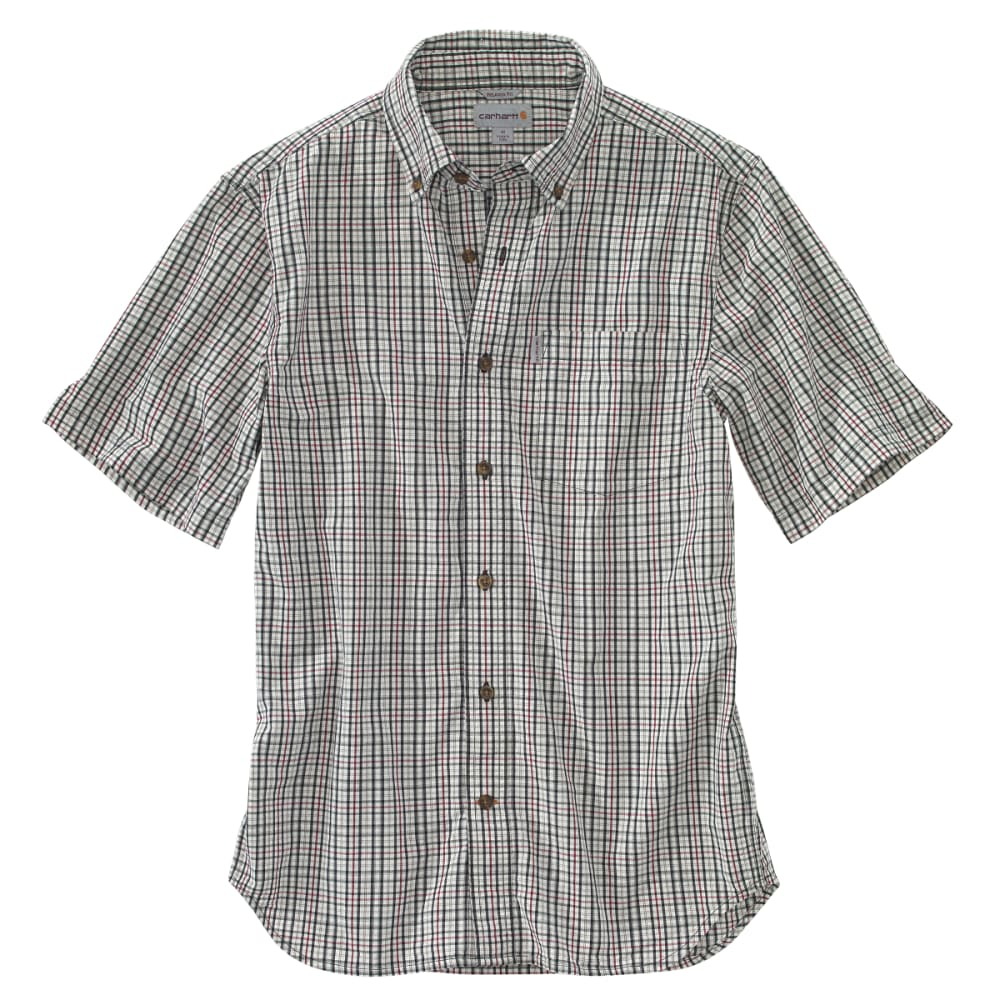 CARHARTT Men's Essential Plaid Button-Down Short-Sleeve Shirt - 261 SAND