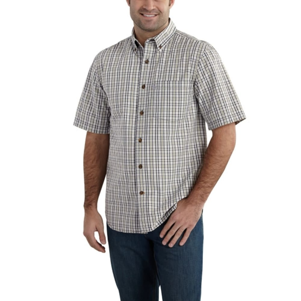 CARHARTT Men's Essential Plaid Button Down Short-Sleeve Shirt - 056 VAP GRY
