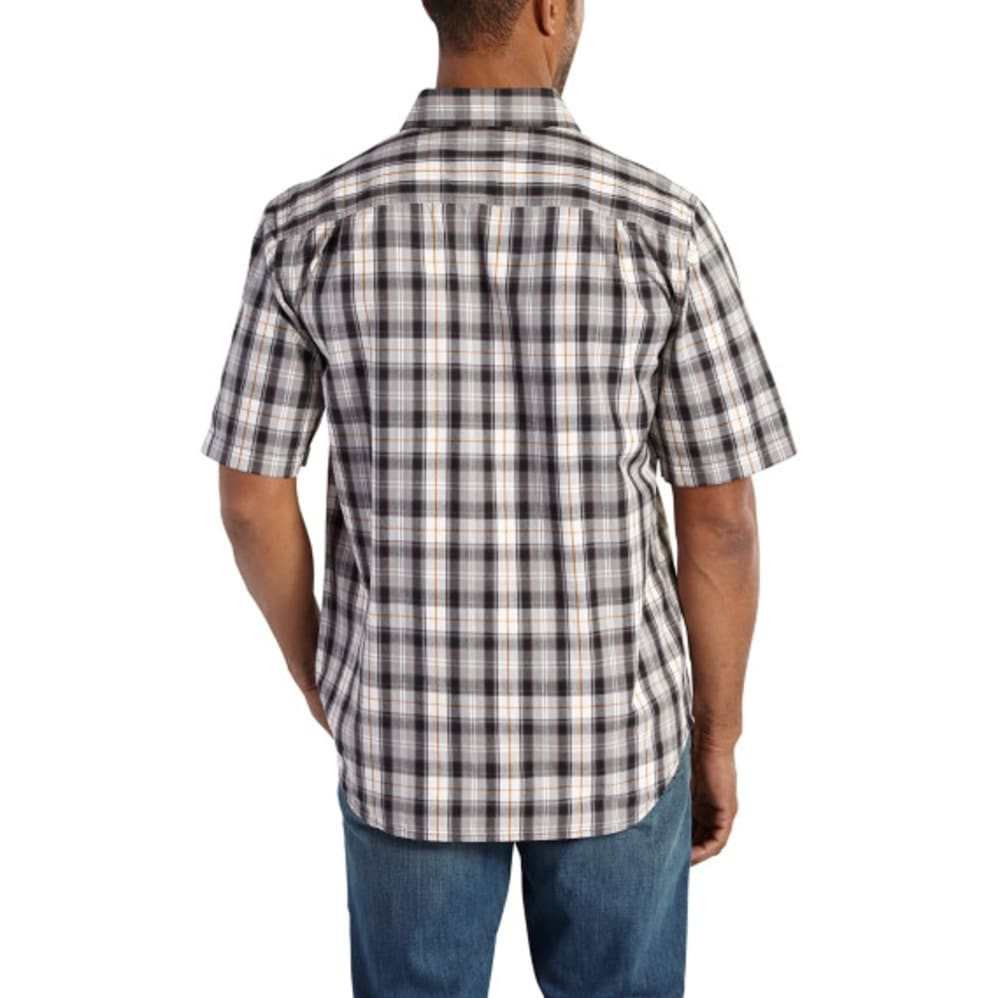 CARHARTT Men's Essential Plaid Open Collar Short-Sleeve Shirt - 001 BLACK